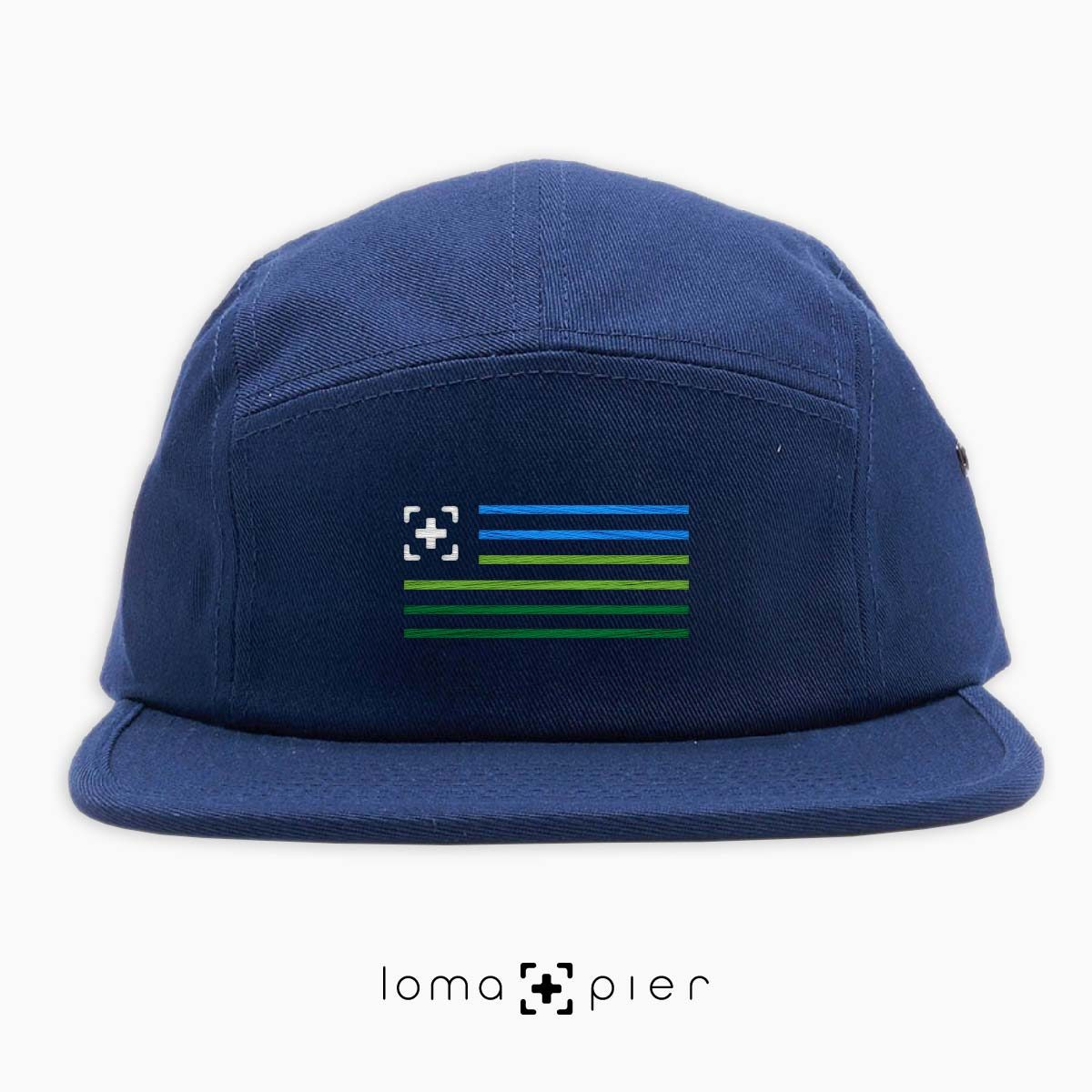 loma+stripes icon embroidered on a navy cotton 5-panel hat by loma+pier hat store