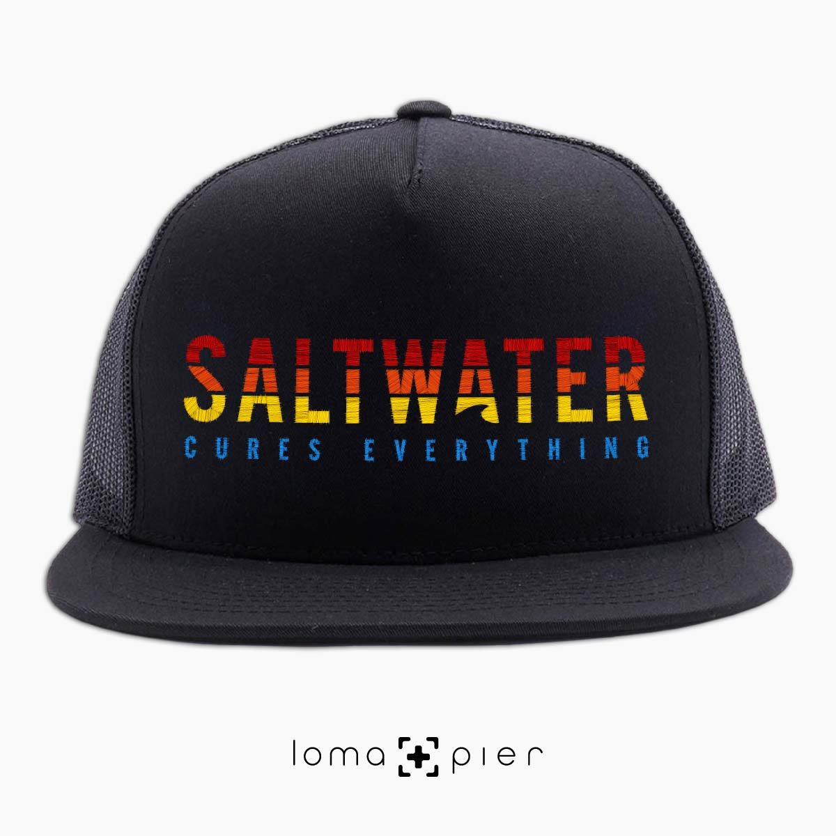 SALTWATER CURES EVERYTHING beach netback hat in black by loma+pier hat store
