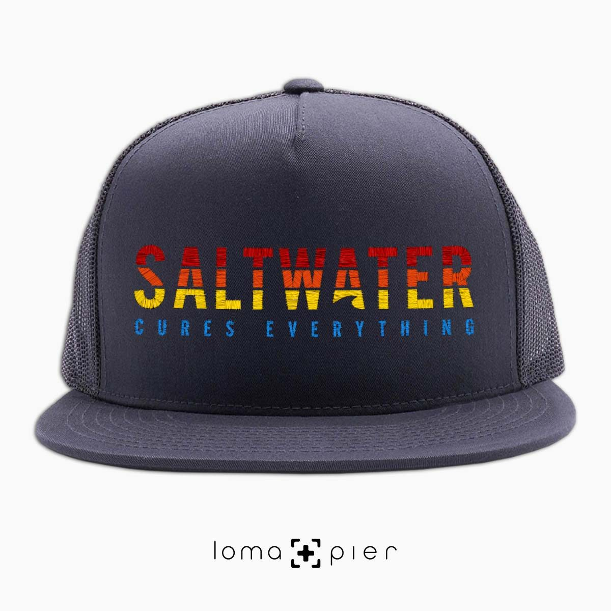 SALTWATER CURES EVERYTHING beach netback hat in charcoal by loma+pier hat store