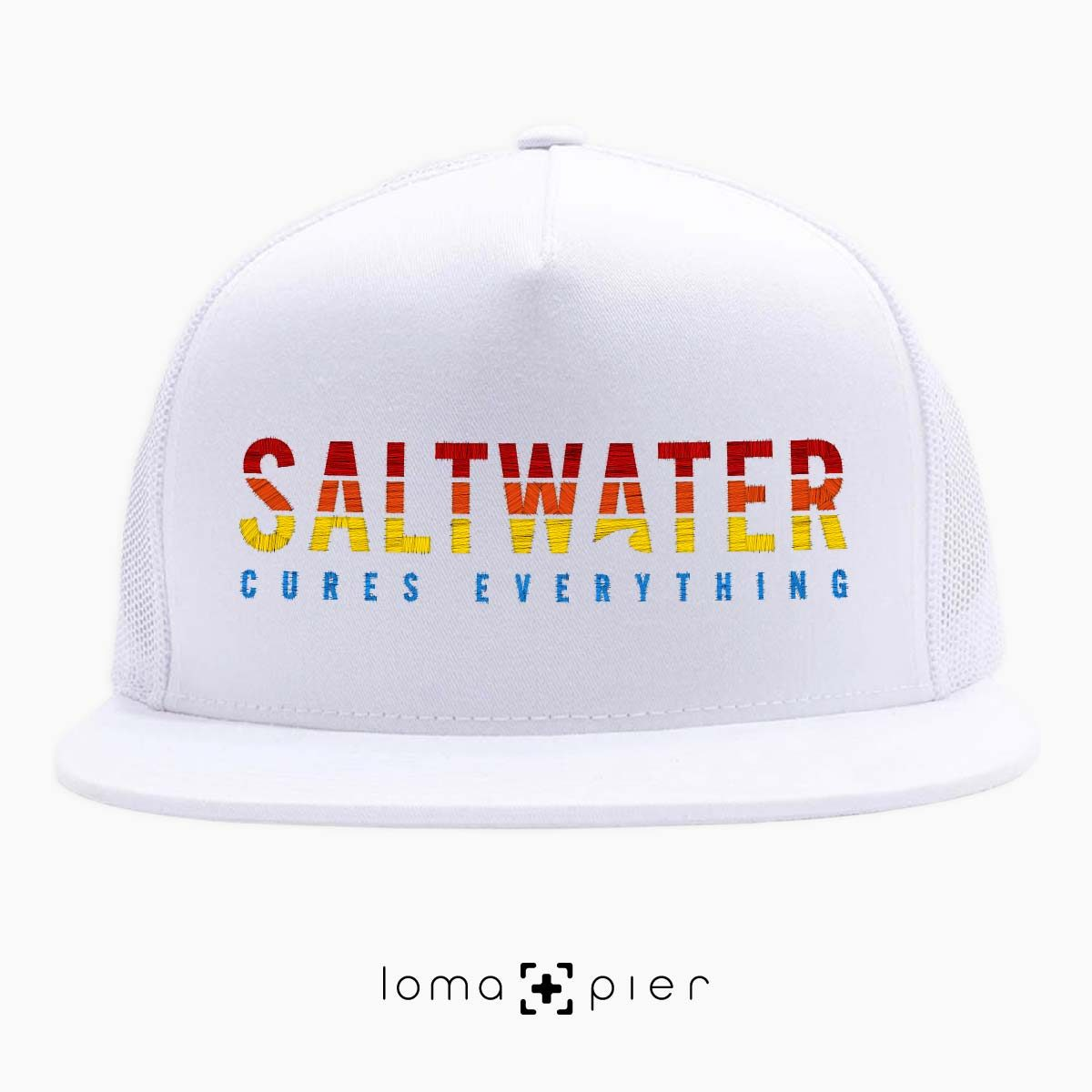 SALTWATER CURES EVERYTHING beach netback hat in white by loma+pier hat store