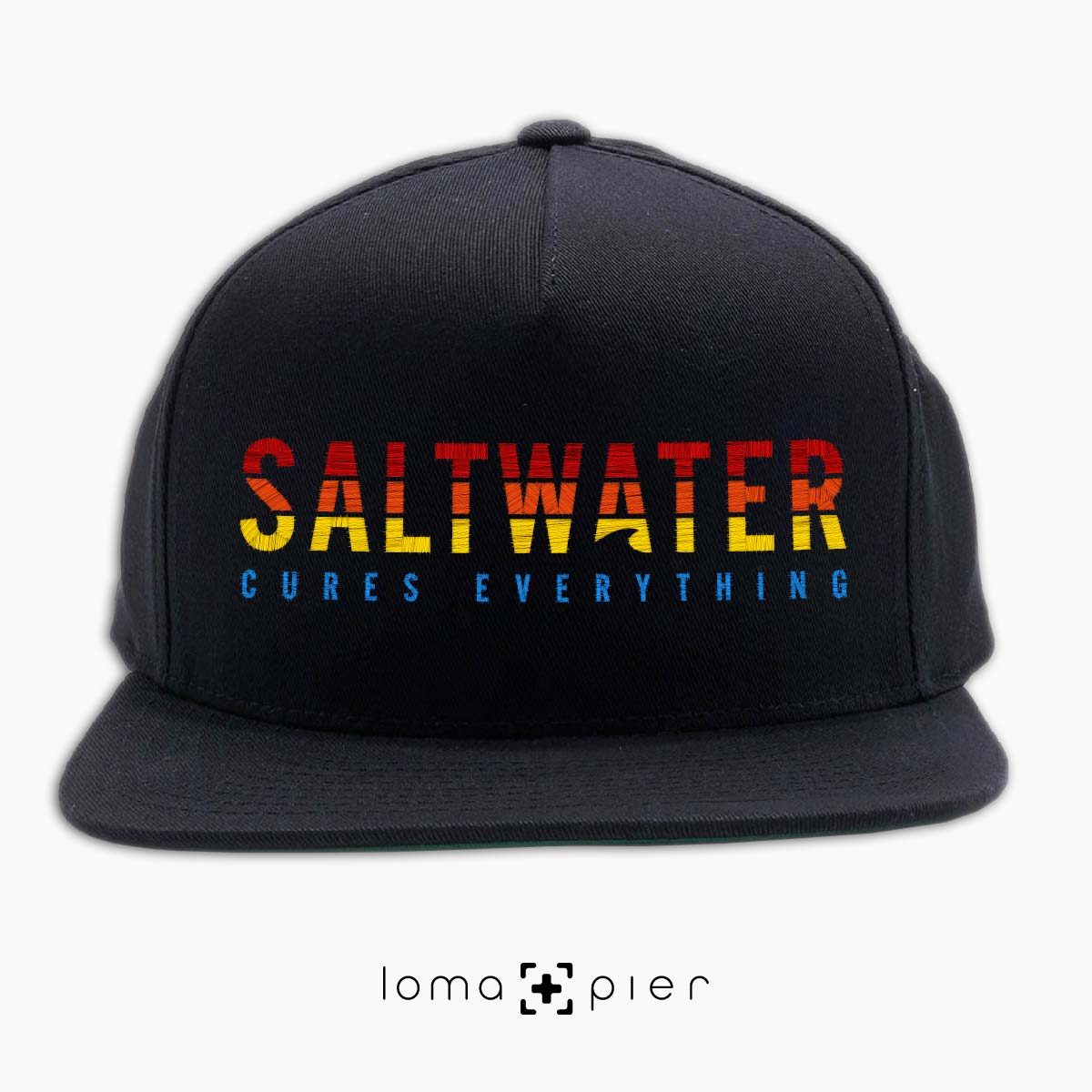 SALTWATER CURES EVERYTHING black classic snapback hat by loma+pier hat store