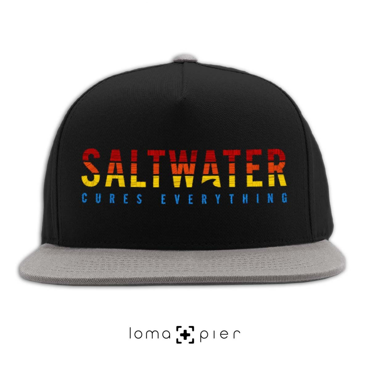 SALTWATER CURES EVERYTHING black grey classic snapback hat by loma+pier hat store
