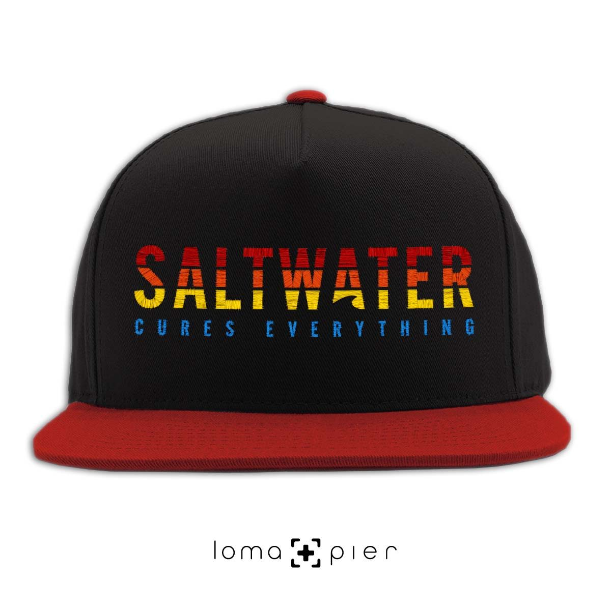 SALTWATER CURES EVERYTHING black red classic snapback hat by loma+pier hat store