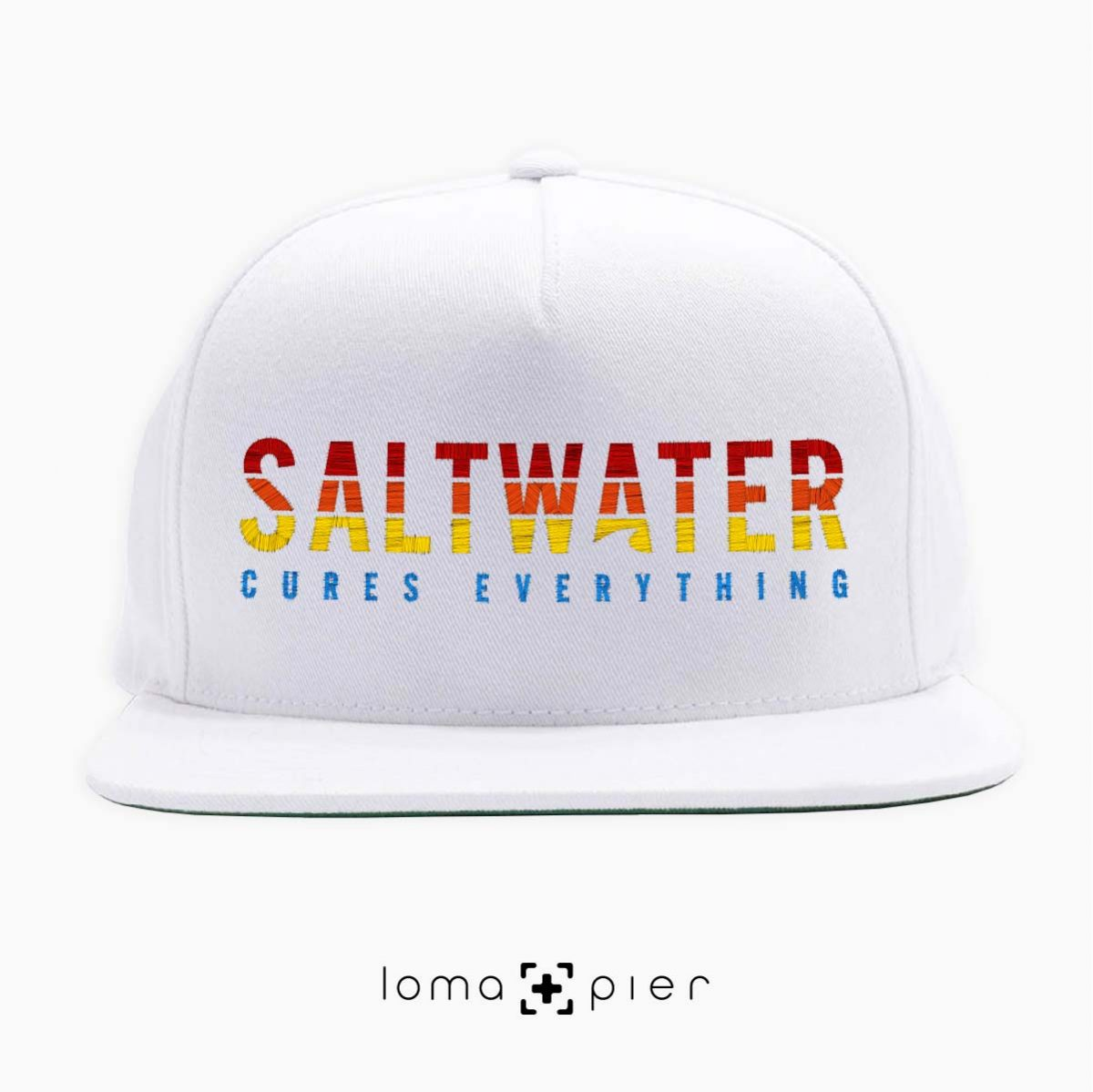 SALTWATER CURES EVERYTHING white classic snapback hat by loma+pier hat store
