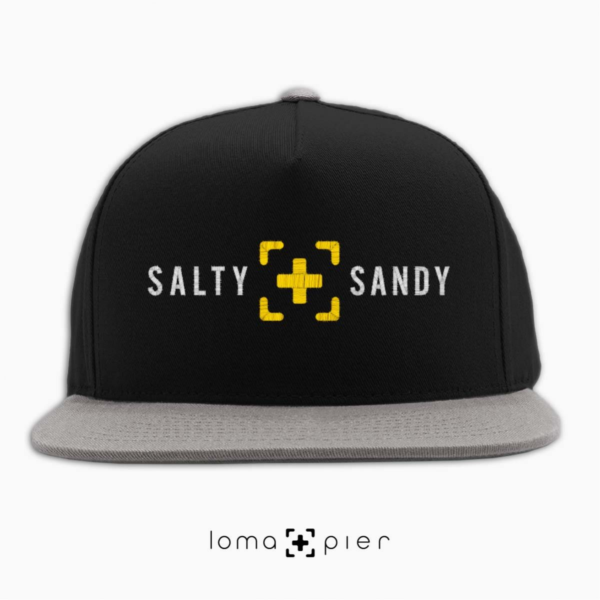 SALTY+SANDY beach snapback hat in black/grey by lomapier hat store