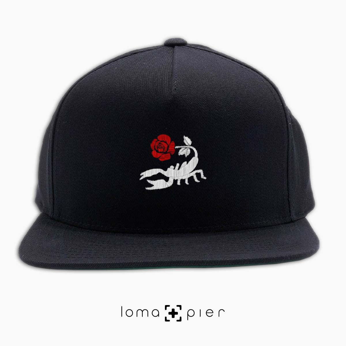 SCORPION ROSE icon embroidered on a black classic snapback hat with multicolor thread by loma+pier hat store