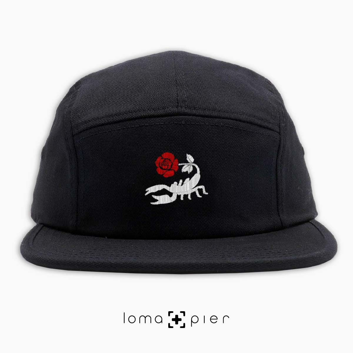 SCORPION ROSE icon embroidered on a black cotton 5-panel hat with multicolor thread in the loma+pier hat store