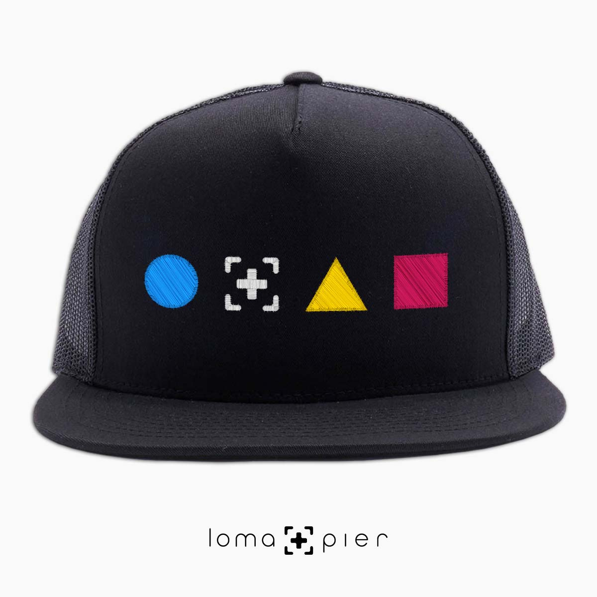neon shapes beach trucker hat in black by lomapier hat store