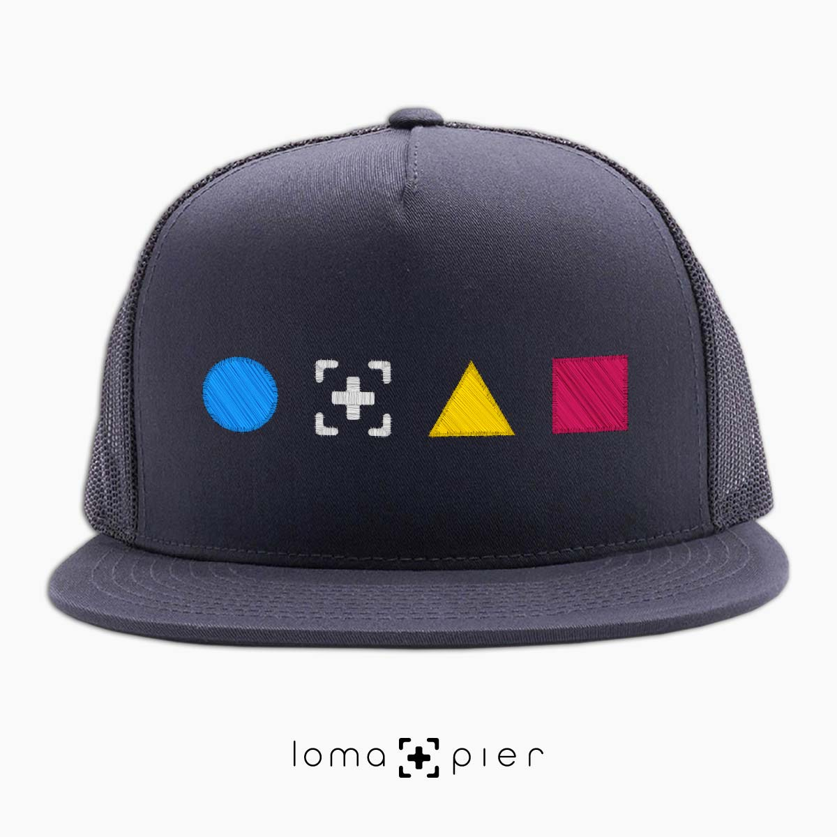 neon shapes beach trucker hat in charcoal by lomapier hat store