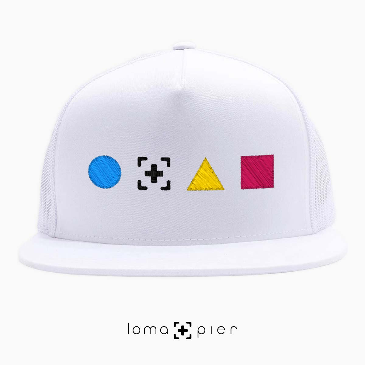 neon shapes beach trucker hat in white by lomapier hat store