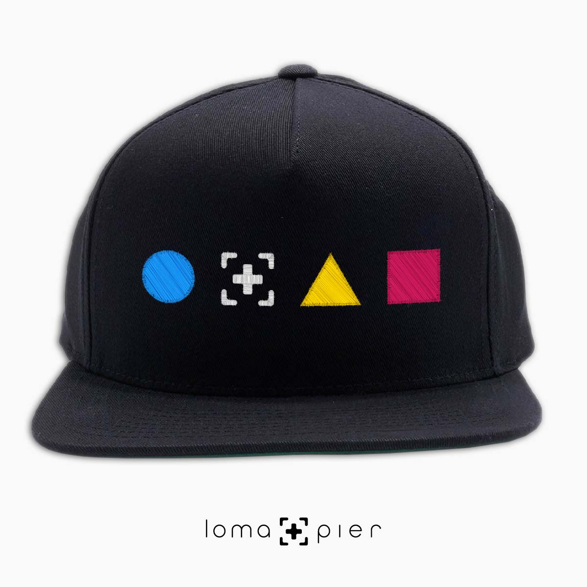 colorful shapes snapback hat in black by loma+pier