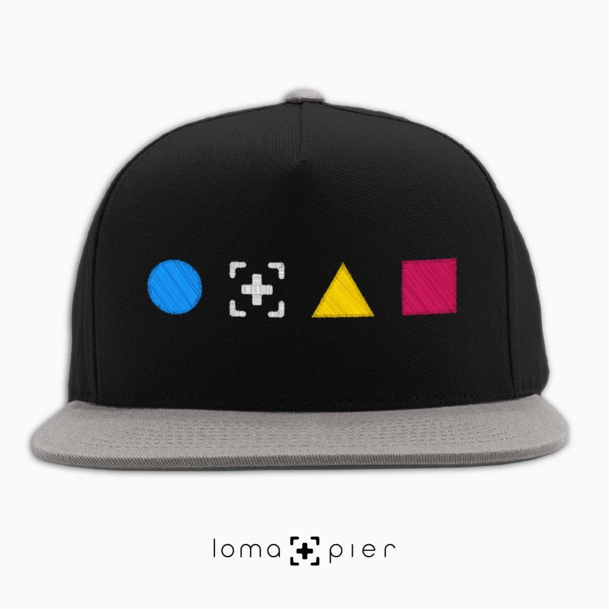 colorful shapes snapback hat in black/grey by loma+pier