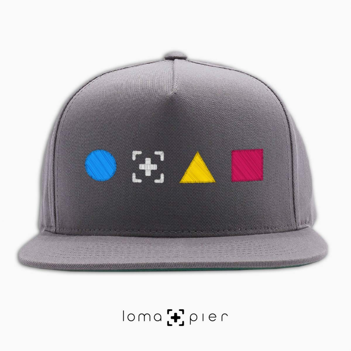 colorful shapes snapback hat in grey by loma+pier