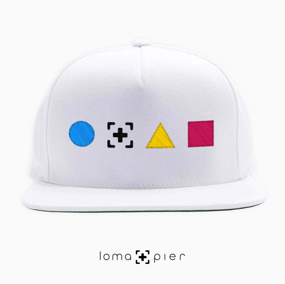 colorful shapes snapback hat in white by loma+pier