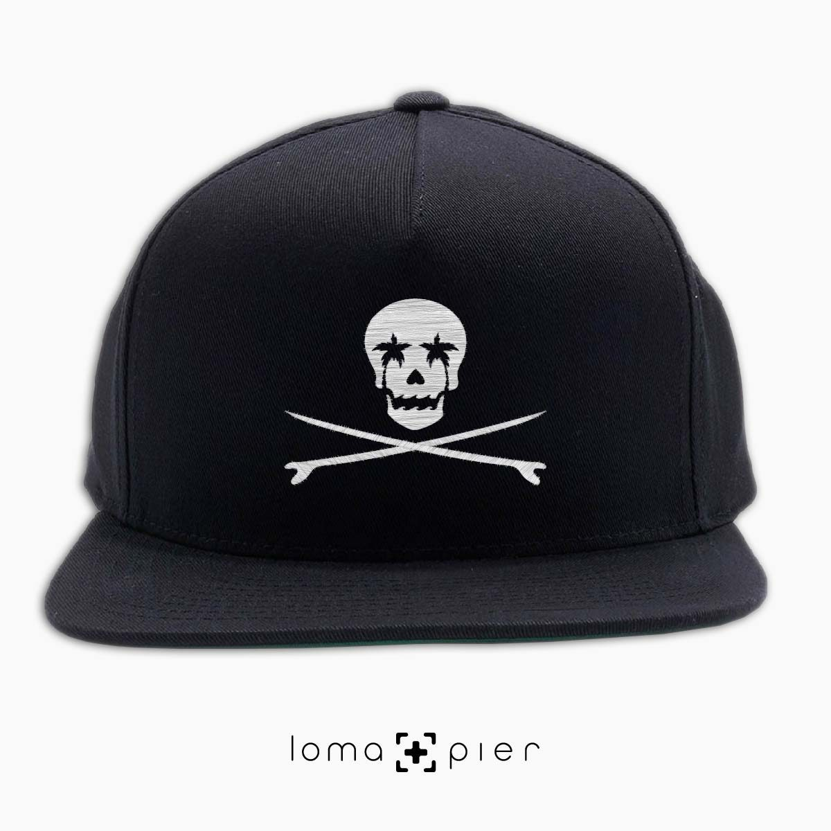 SKULL SURFBOARDS redondo beach snapback hat in black by loma+pier hat store