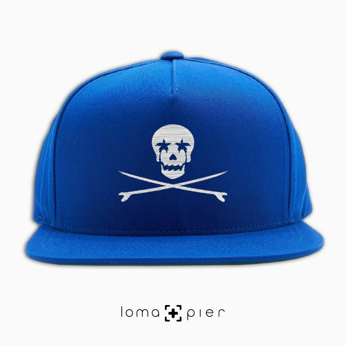 SKULL SURFBOARDS redondo beach snapback hat in blue by loma+pier hat store