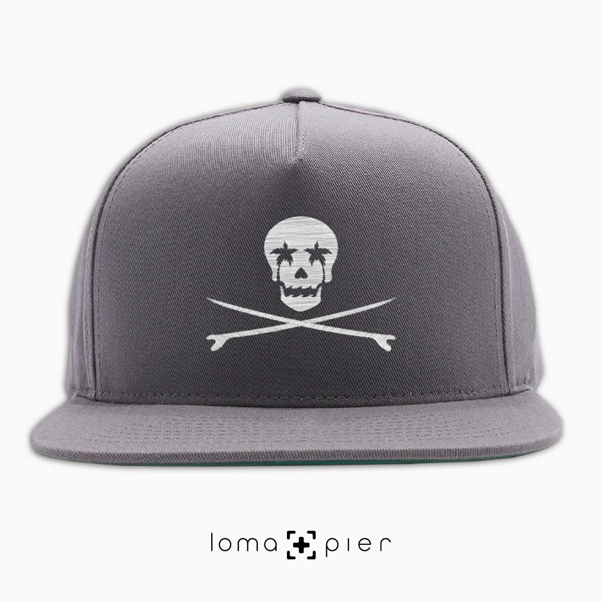 SKULL SURFBOARDS redondo beach snapback hat in grey by loma+pier hat store