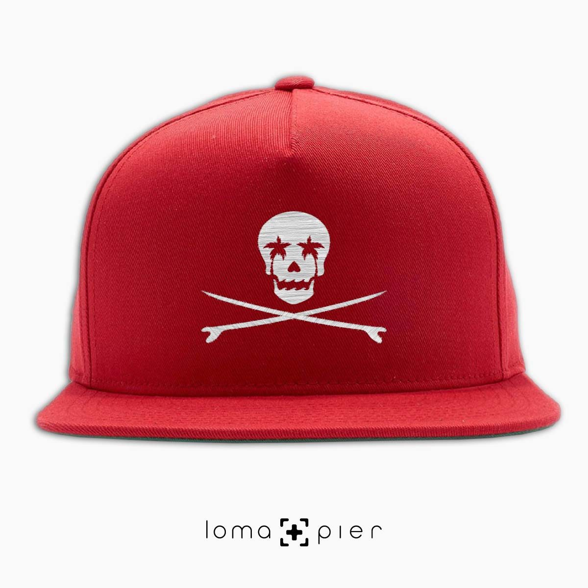 SKULL SURFBOARDS redondo beach snapback hat in red by loma+pier hat store