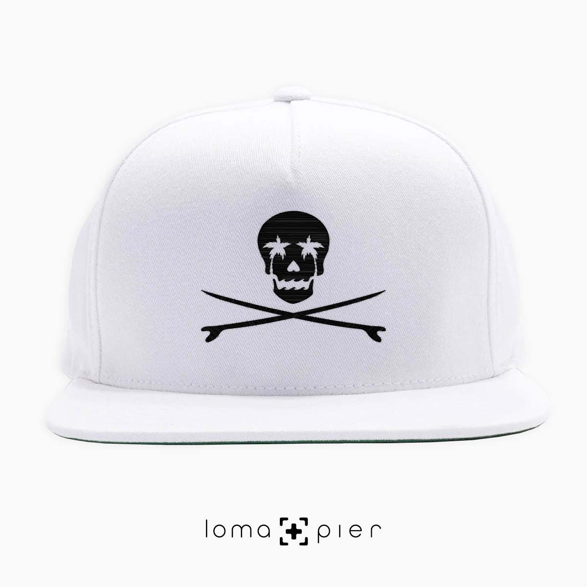 SKULL SURFBOARDS redondo beach snapback hat in white by loma+pier hat store