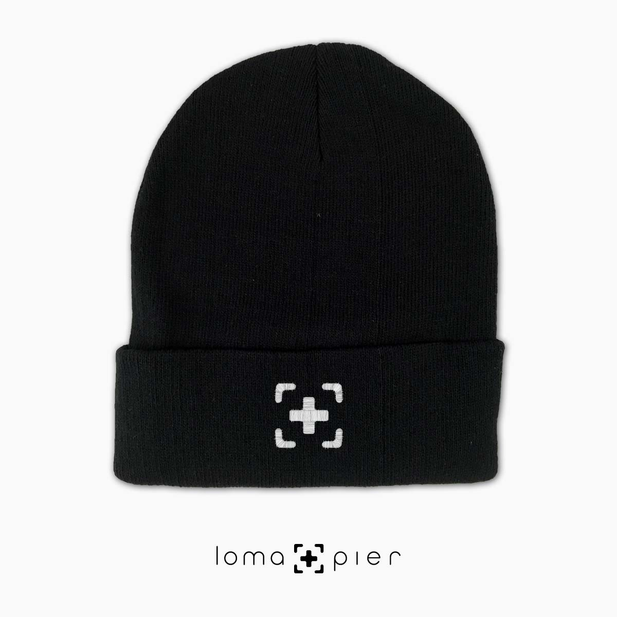 soft beanie cap with icon in black by loma+pier hat store