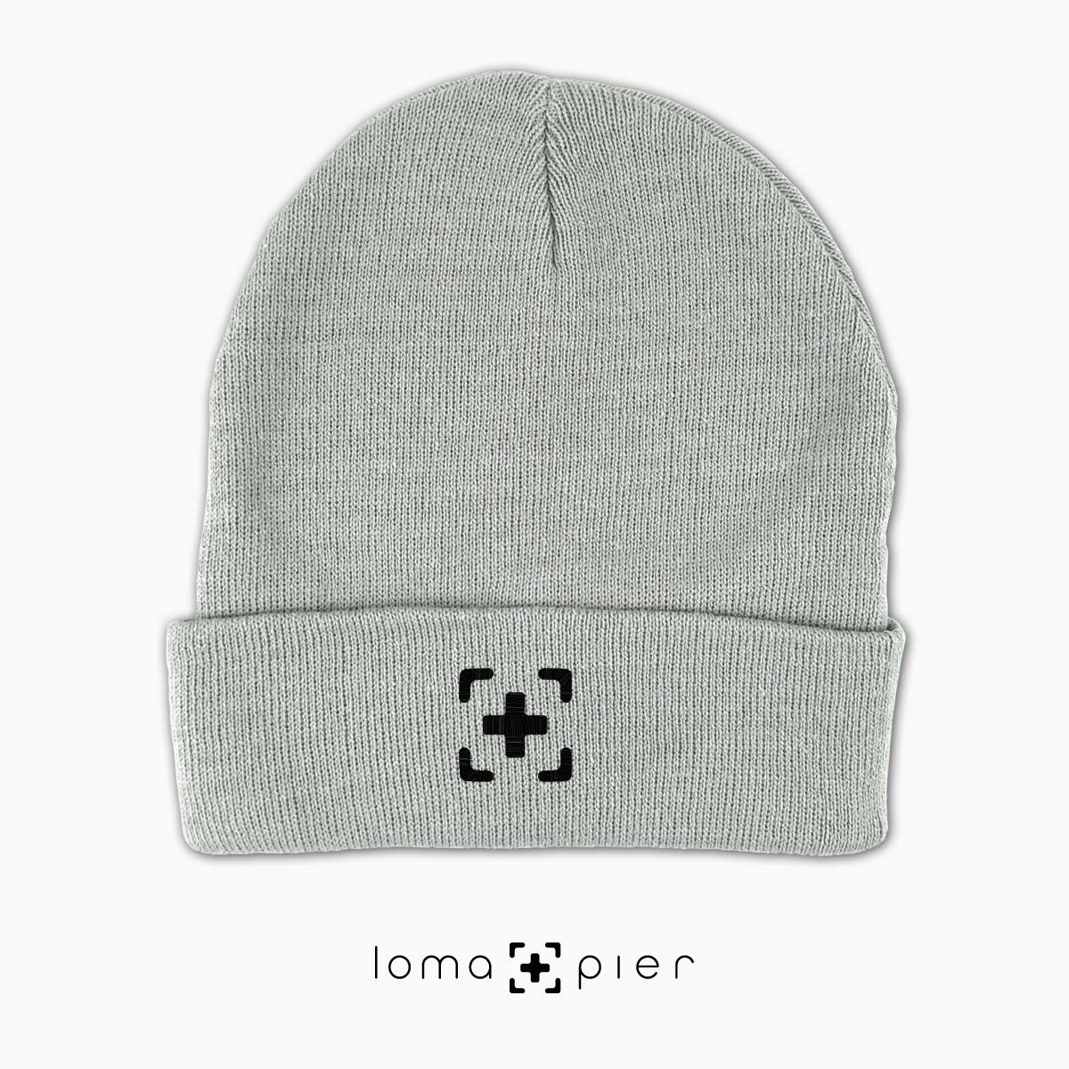 cute beanie cap with icon in grey by loma+pier hat store
