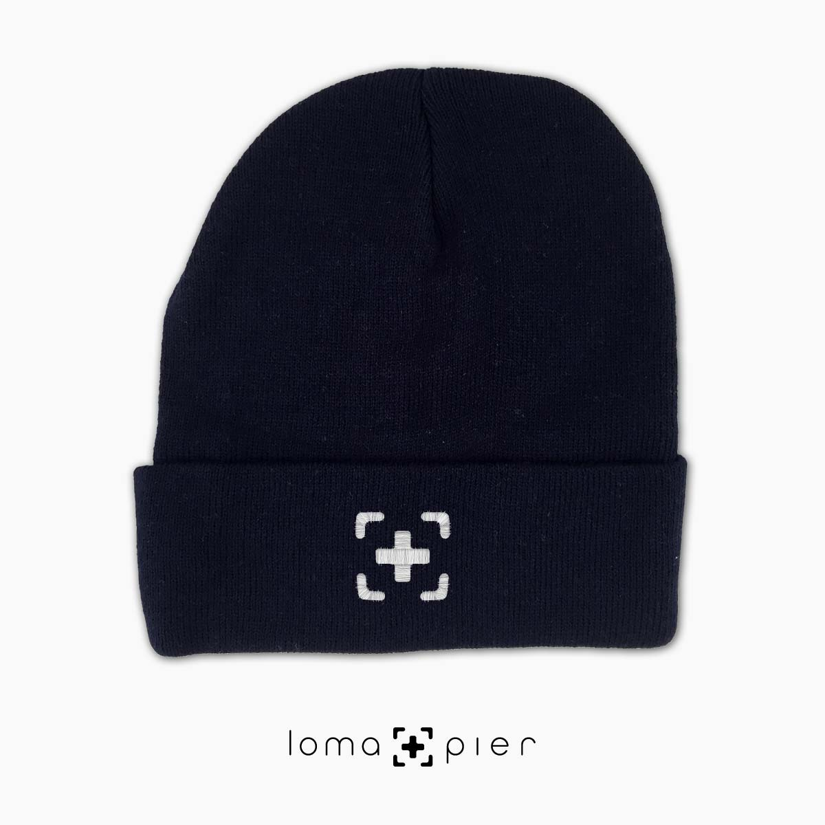 cute beanie cap with icon in navy by loma+pier hat store