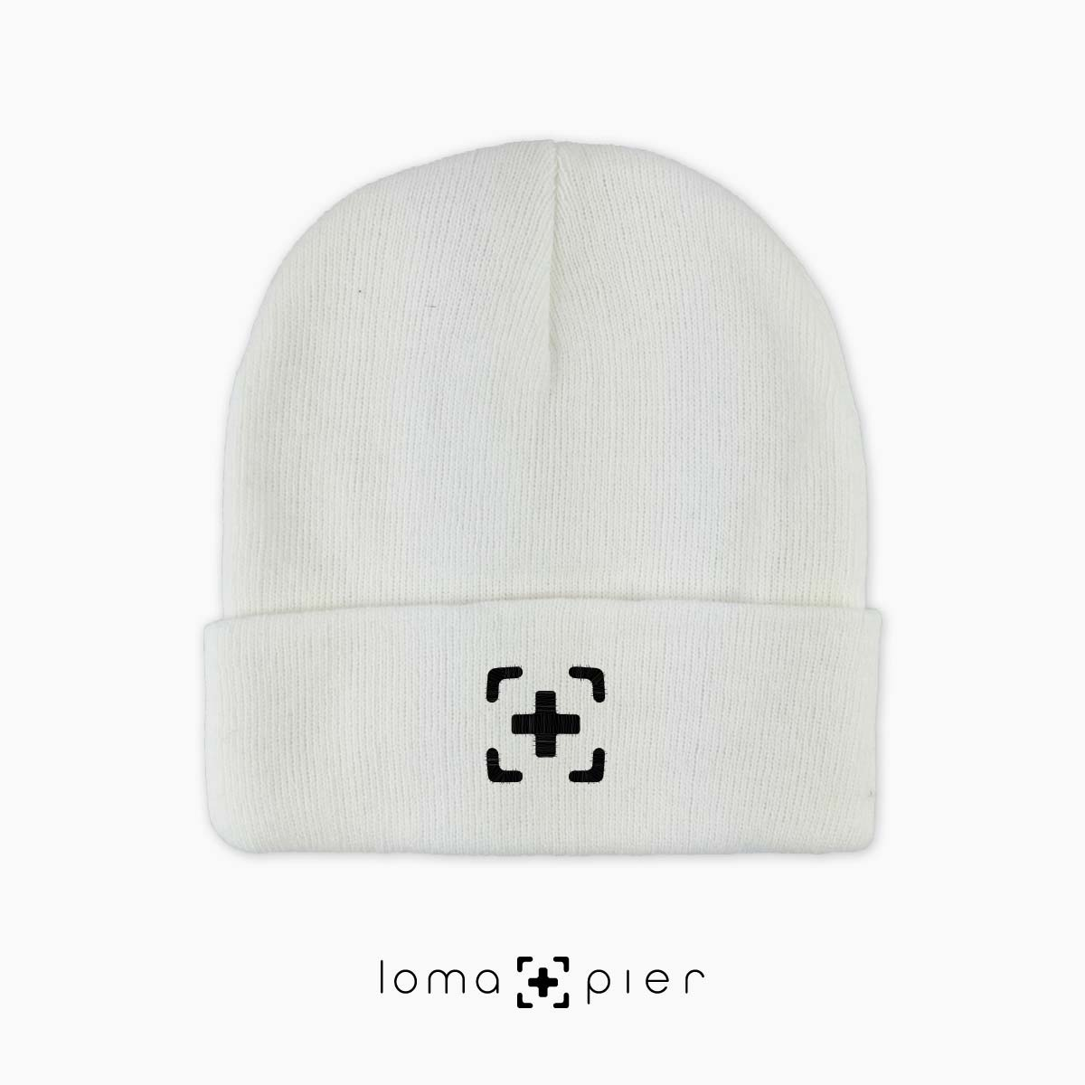 cute beanie cap with icon in white by loma+pier hat store