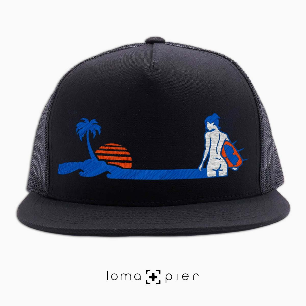 SURF NAKED hermosa beach black netback trucker hat design by KIKICUTT for loma+pier hat store