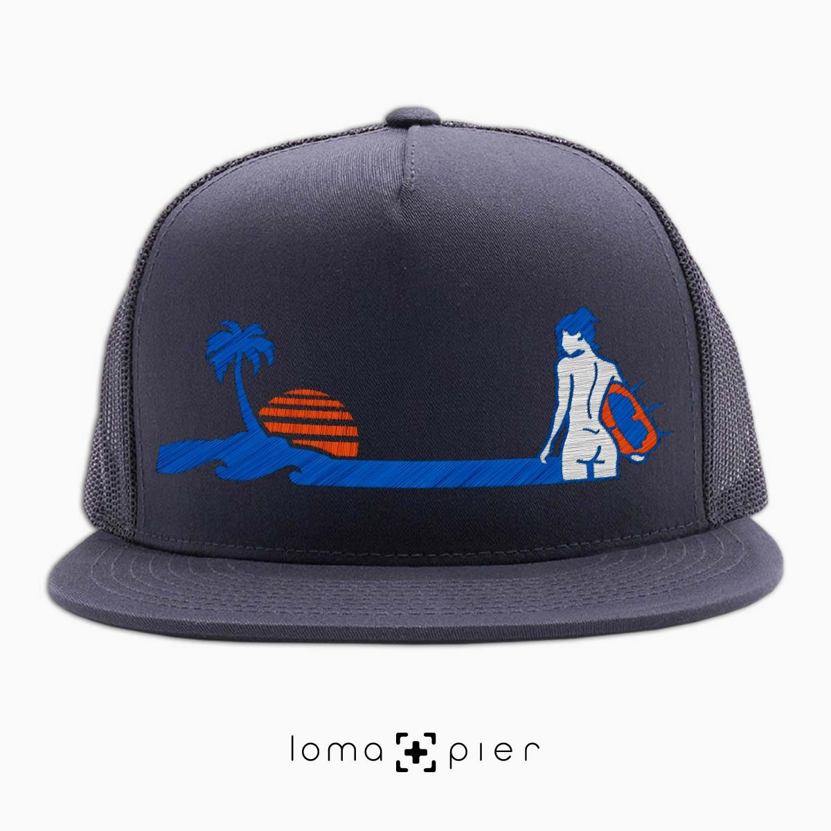 SURF NAKED hermosa beach charcoal netback trucker hat design by KIKICUTT for loma+pier hat store