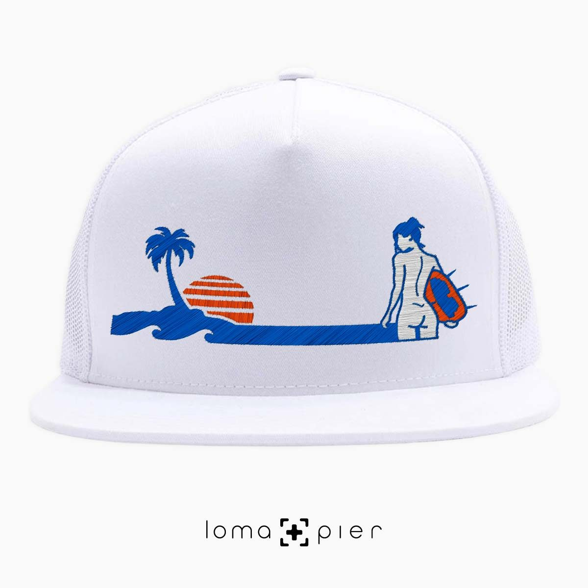 SURF NAKED hermosa beach white netback trucker hat design by KIKICUTT for loma+pier hat store
