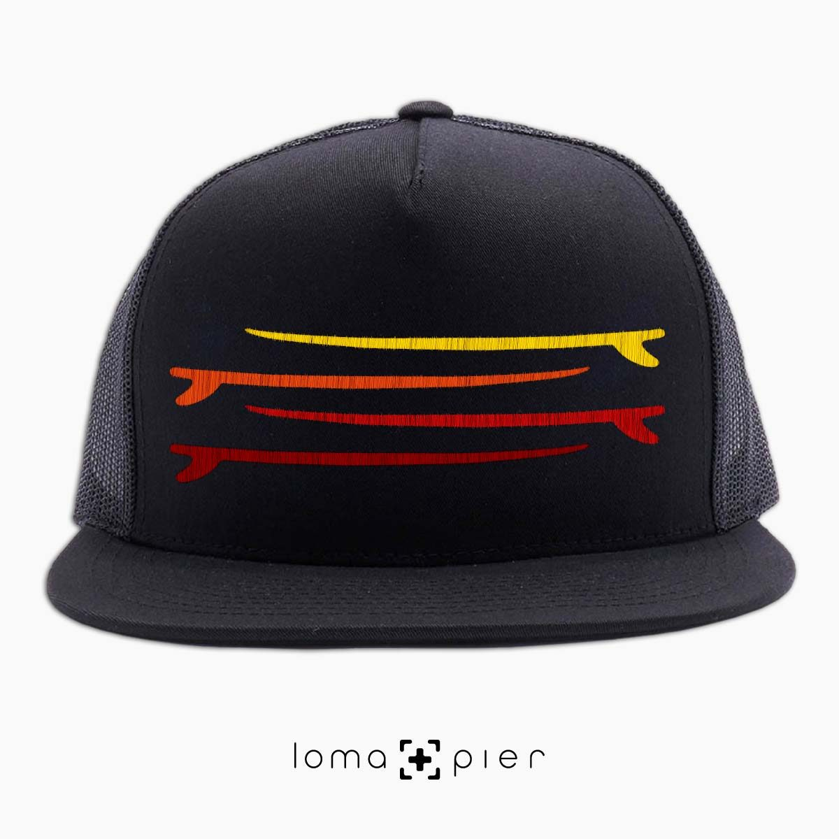 SURF STACK manhattan beach netback trucker hat in black by loma+pier hat store
