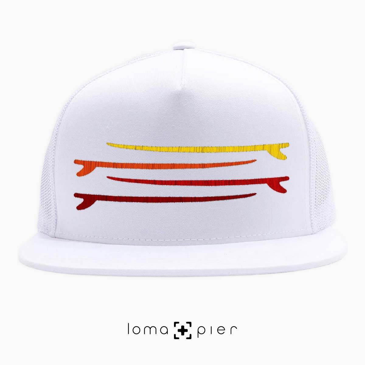SURF STACK manhattan beach netback trucker hat in white by loma+pier hat store
