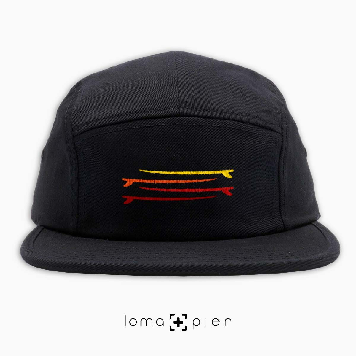 SURF STACK icon embroidered on a black cotton 5-panel hat by loma+pier hat store