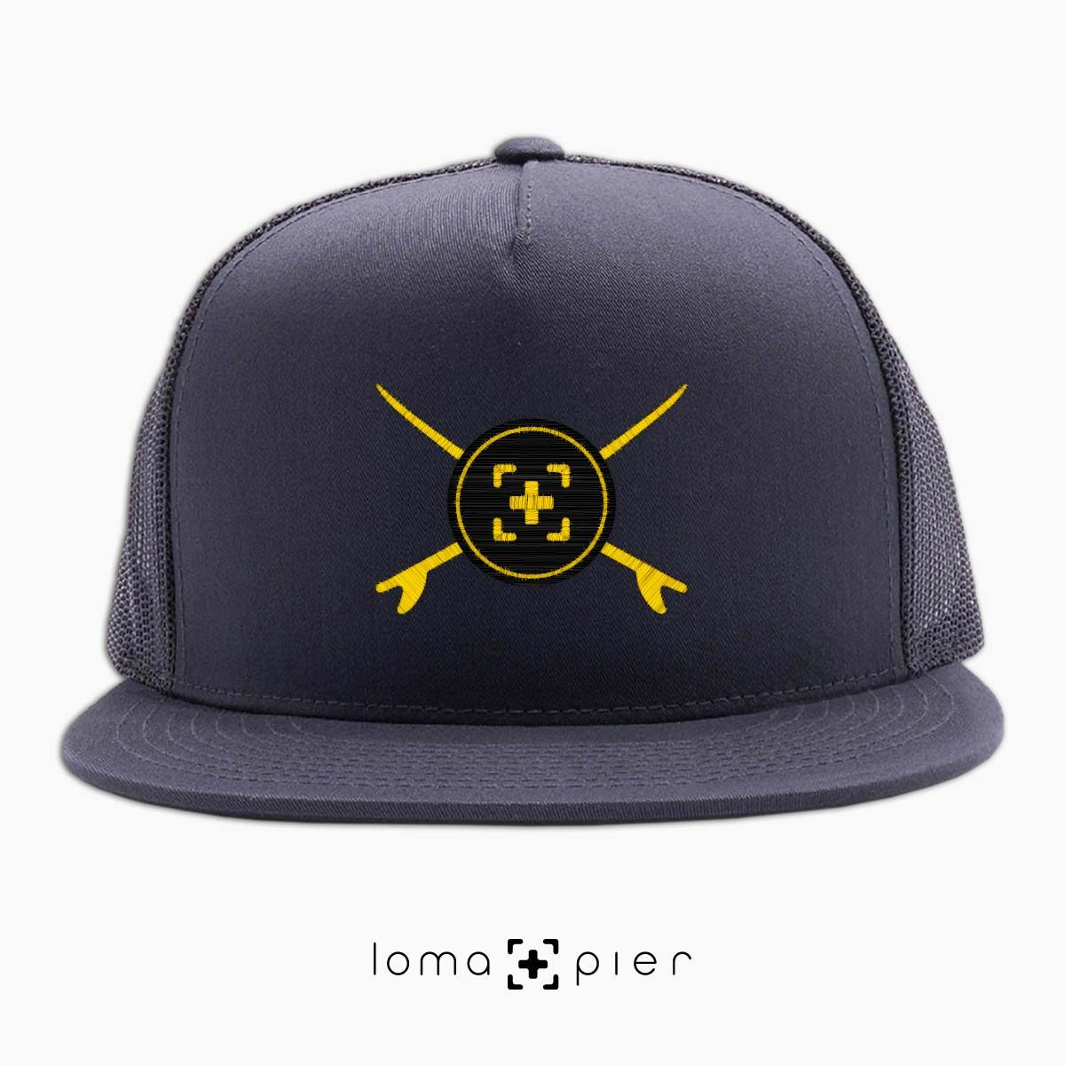 SURFERS BADGE hermosa beach netback trucker hat in charcoal by lomapier hat store