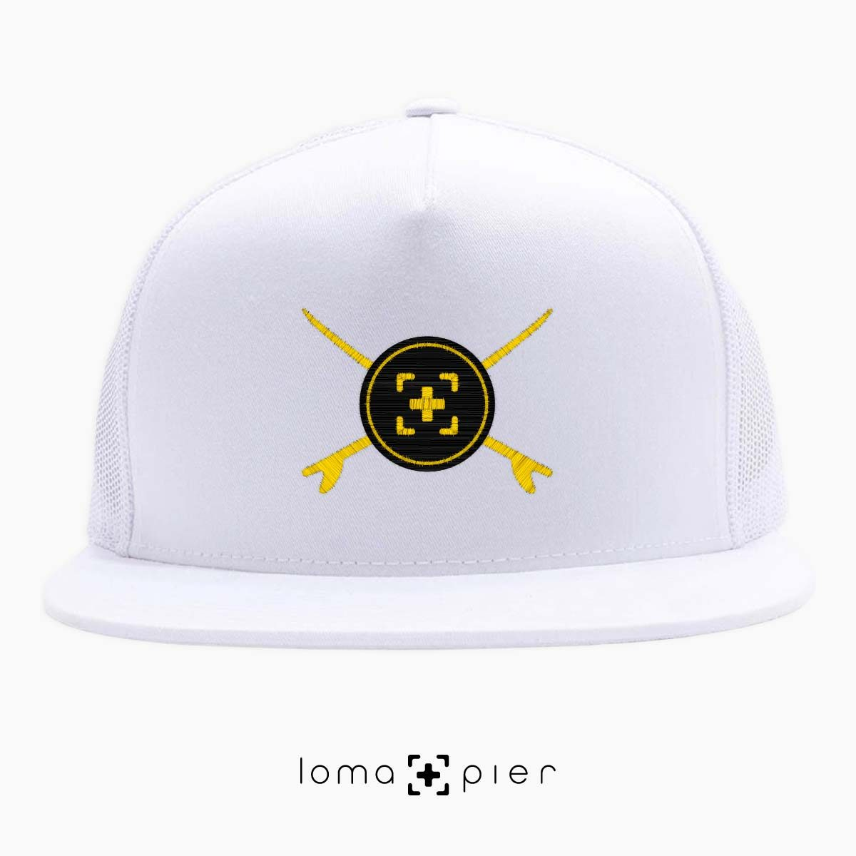 SURFERS BADGE hermosa beach netback trucker hat in white by lomapier hat store
