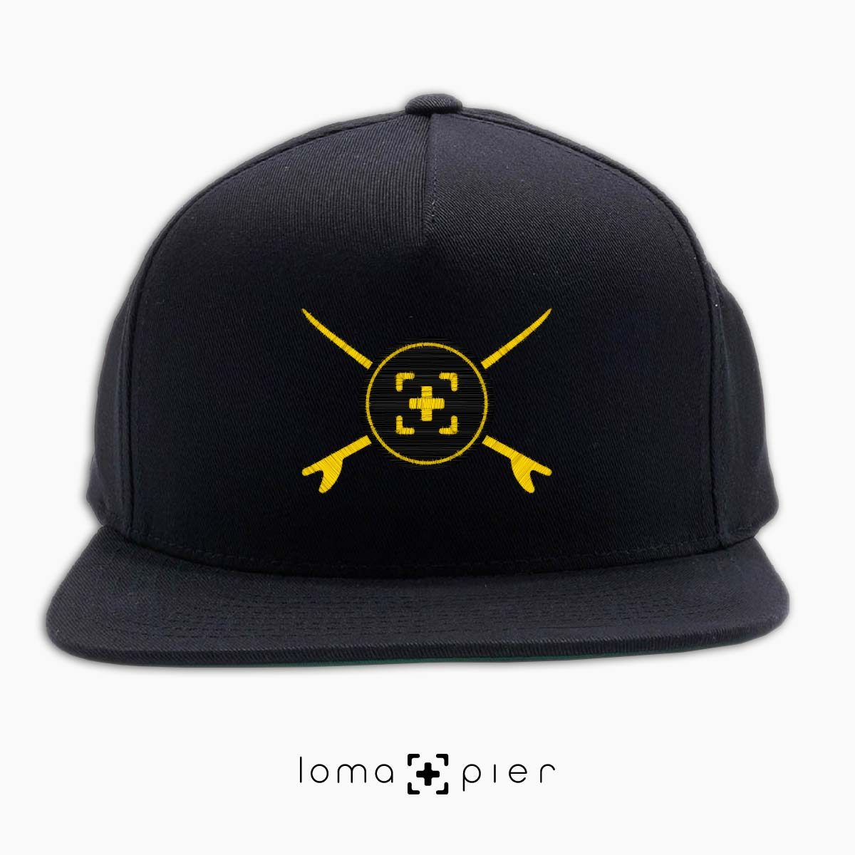 SURFERS BADGE hermosa beach snapback hat in black by lomapier hat store