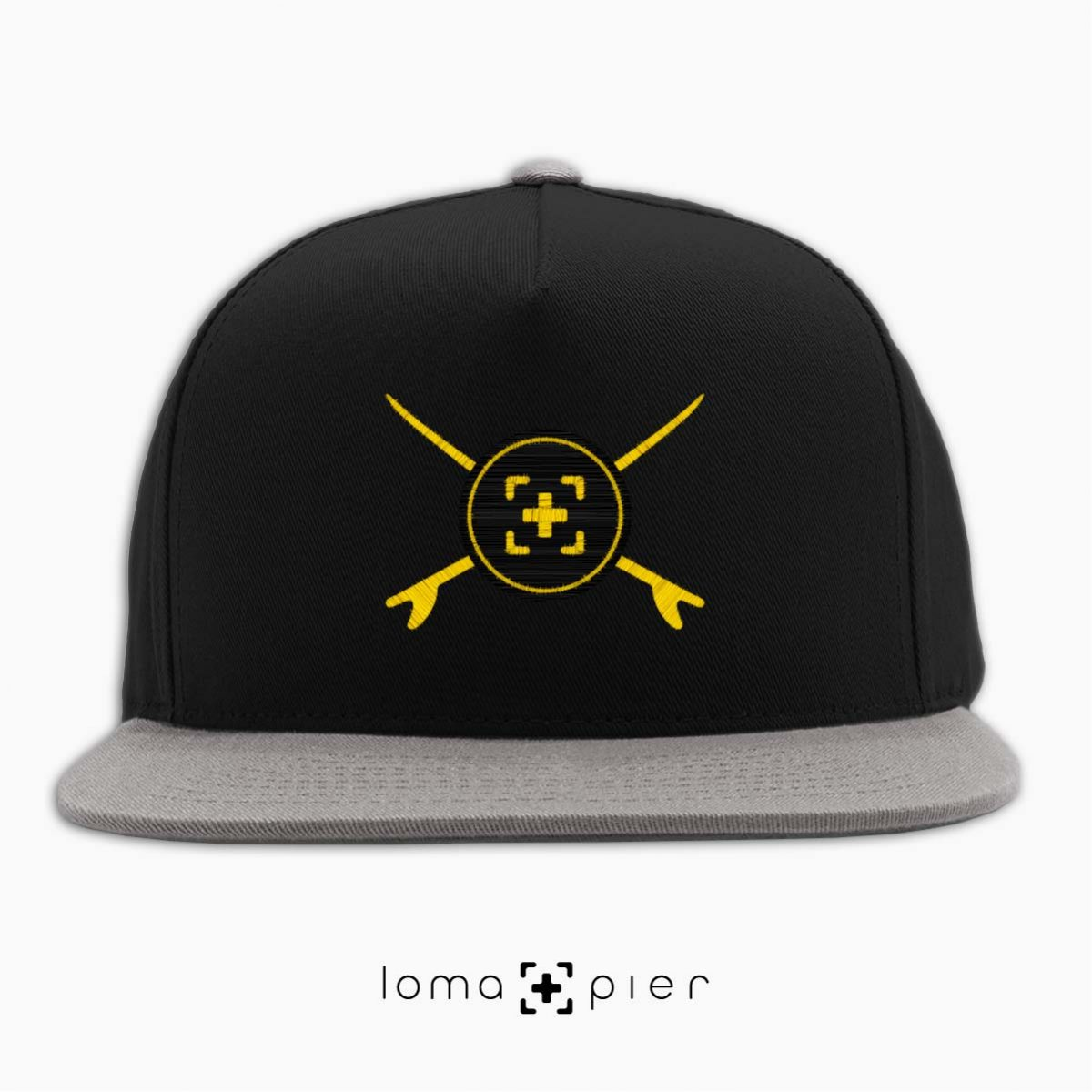 SURFERS BADGE hermosa beach snapback hat in black/grey by lomapier hat store