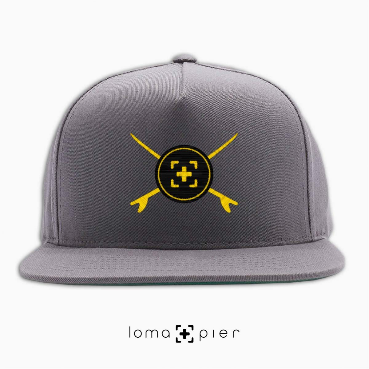 SURFERS BADGE hermosa beach snapback hat in grey by lomapier hat store