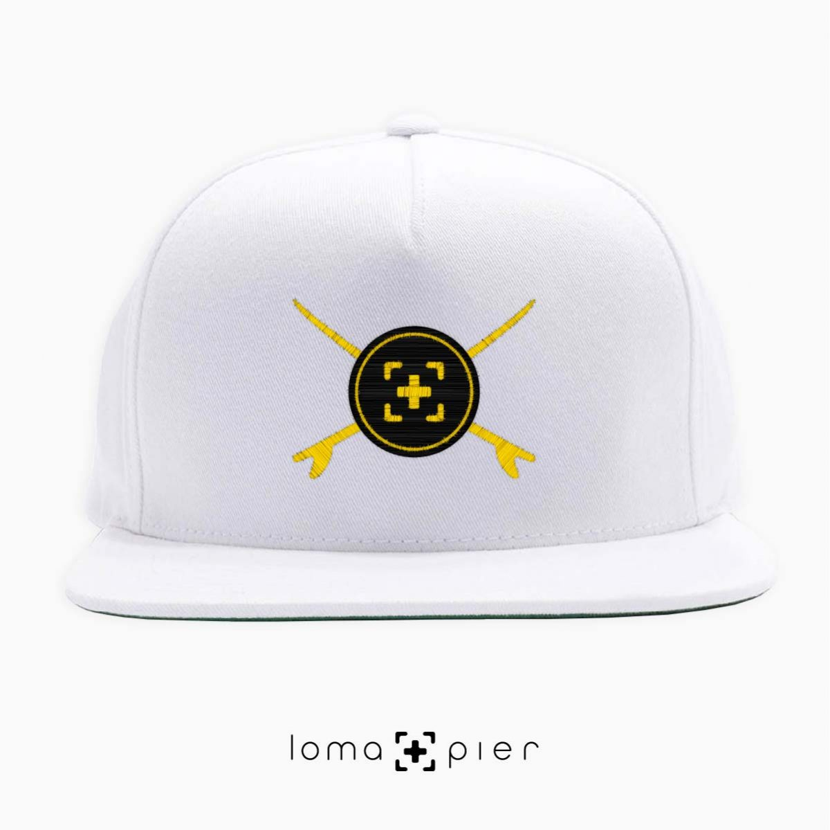 SURFERS BADGE hermosa beach snapback hat in white by lomapier hat store