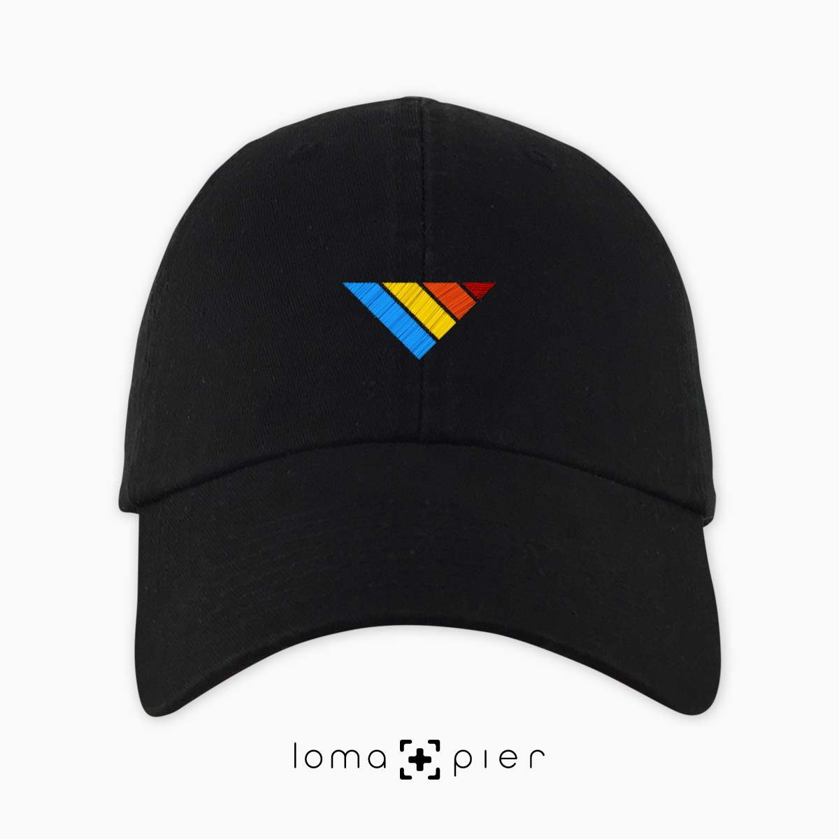 COLORFUL sTRIpes icon dad hat in black by loma+pier hat store