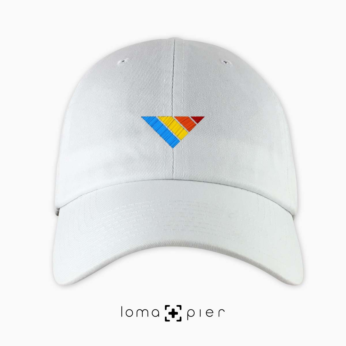 COLORFUL sTRIpes icon dad hat in white by loma+pier hat store
