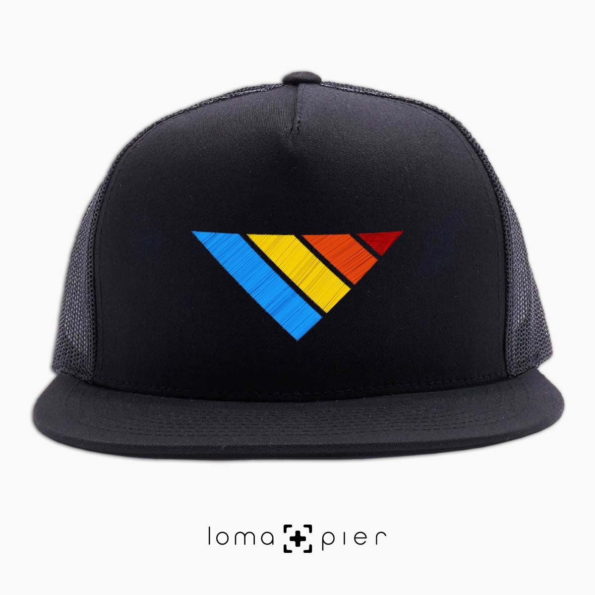 COLORFUL sTRIpes icon beach netback hat in black by loma+pier hat store