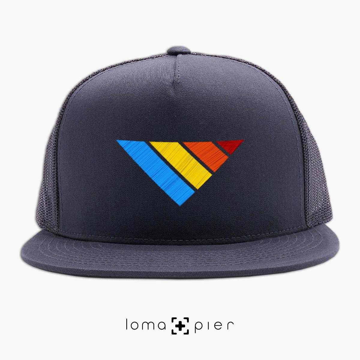 COLORFUL sTRIpes icon beach netback hat in charcoal by loma+pier hat store