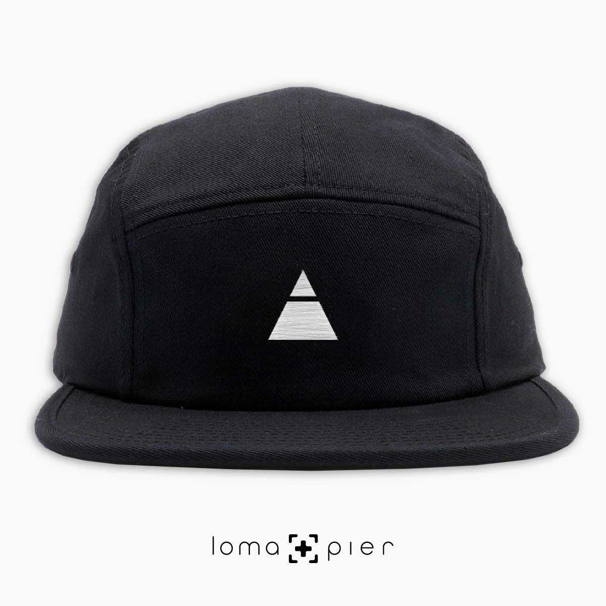 TRYANGLE icon embroidered on a black cotton 5-panel hat with white thread by loma+pier hat store