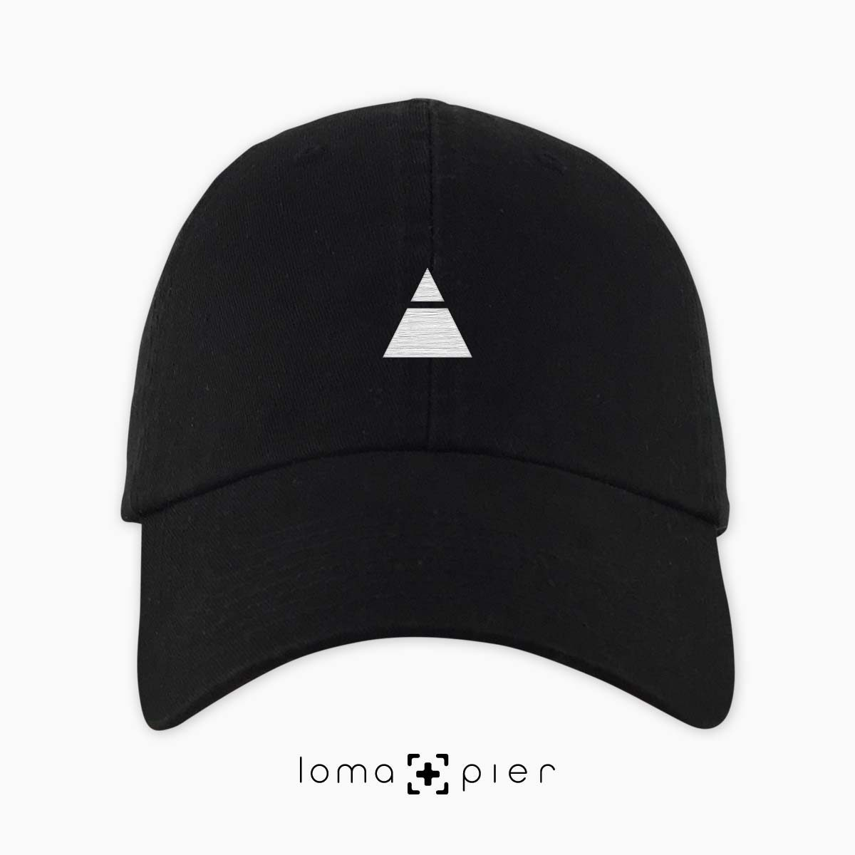 ​TRYANGLE icon embroidered on a ​black unstructured dad hat with ​white thread by loma+pier hat store made in the USA