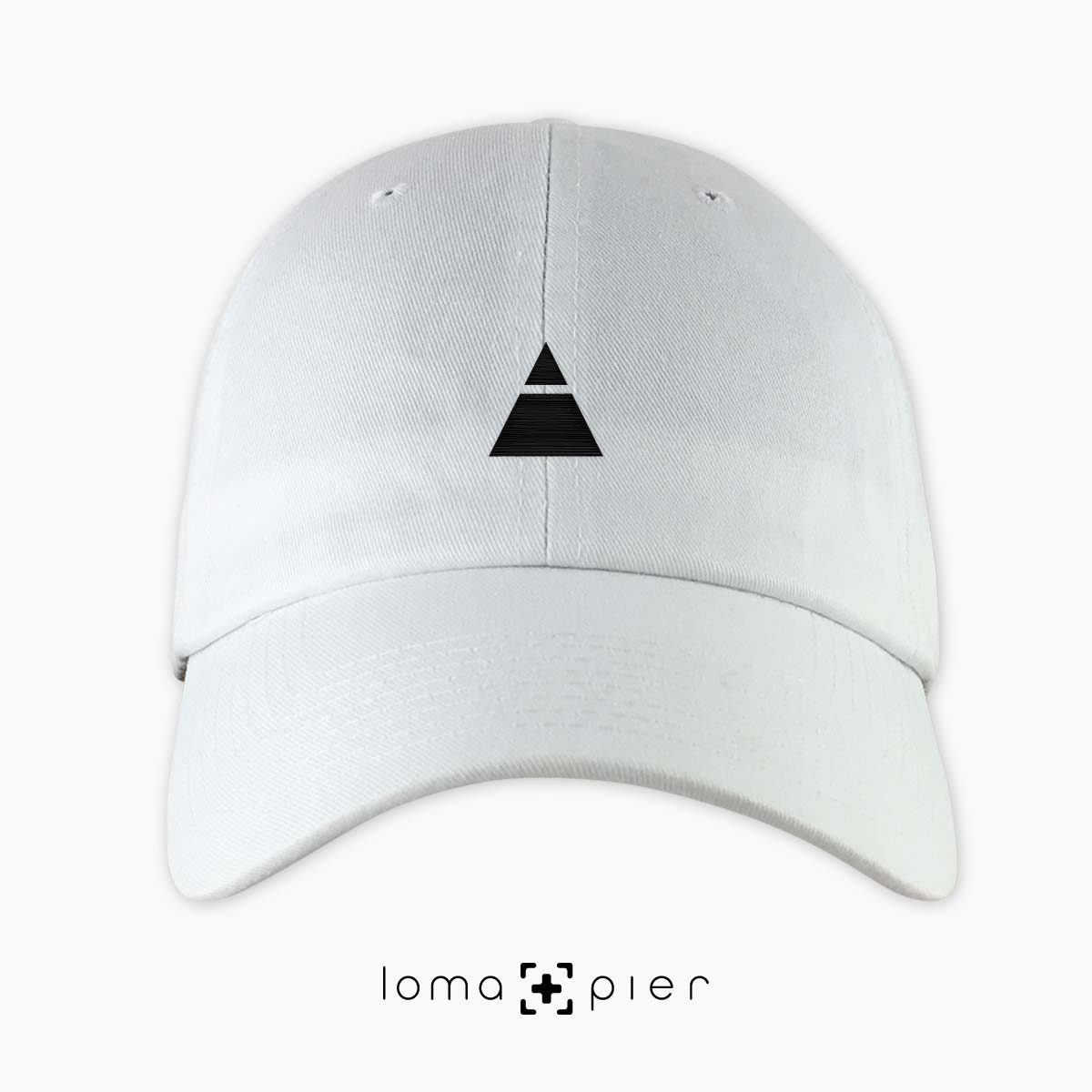 ​TRYANGLE icon embroidered on a ​white unstructured dad hat with ​black thread by loma+pier hat store made in the USA