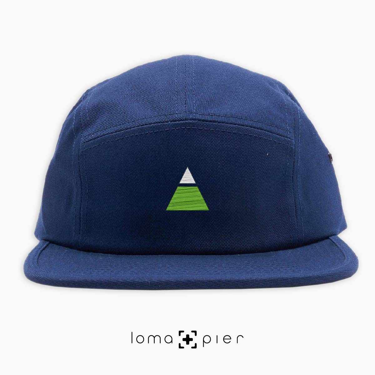 TRYANGLE icon embroidered on a navy blue cotton 5-panel hat with multicolor thread by loma+pier hat store
