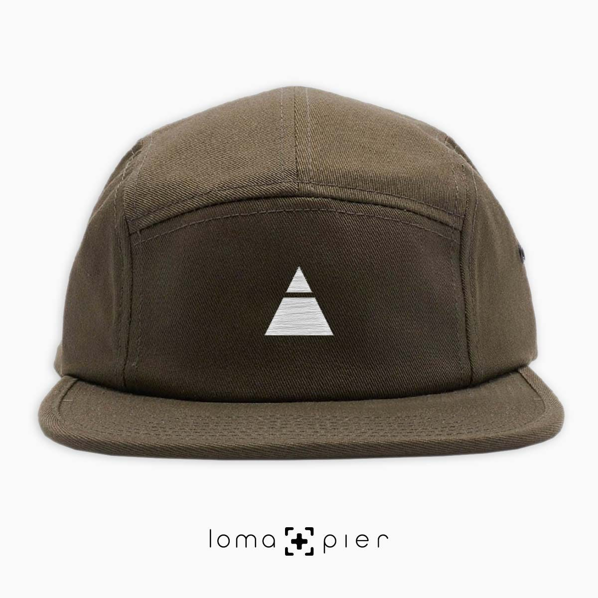 TRYANGLE icon embroidered on an olive green cotton 5-panel hat with white thread by loma+pier hat store