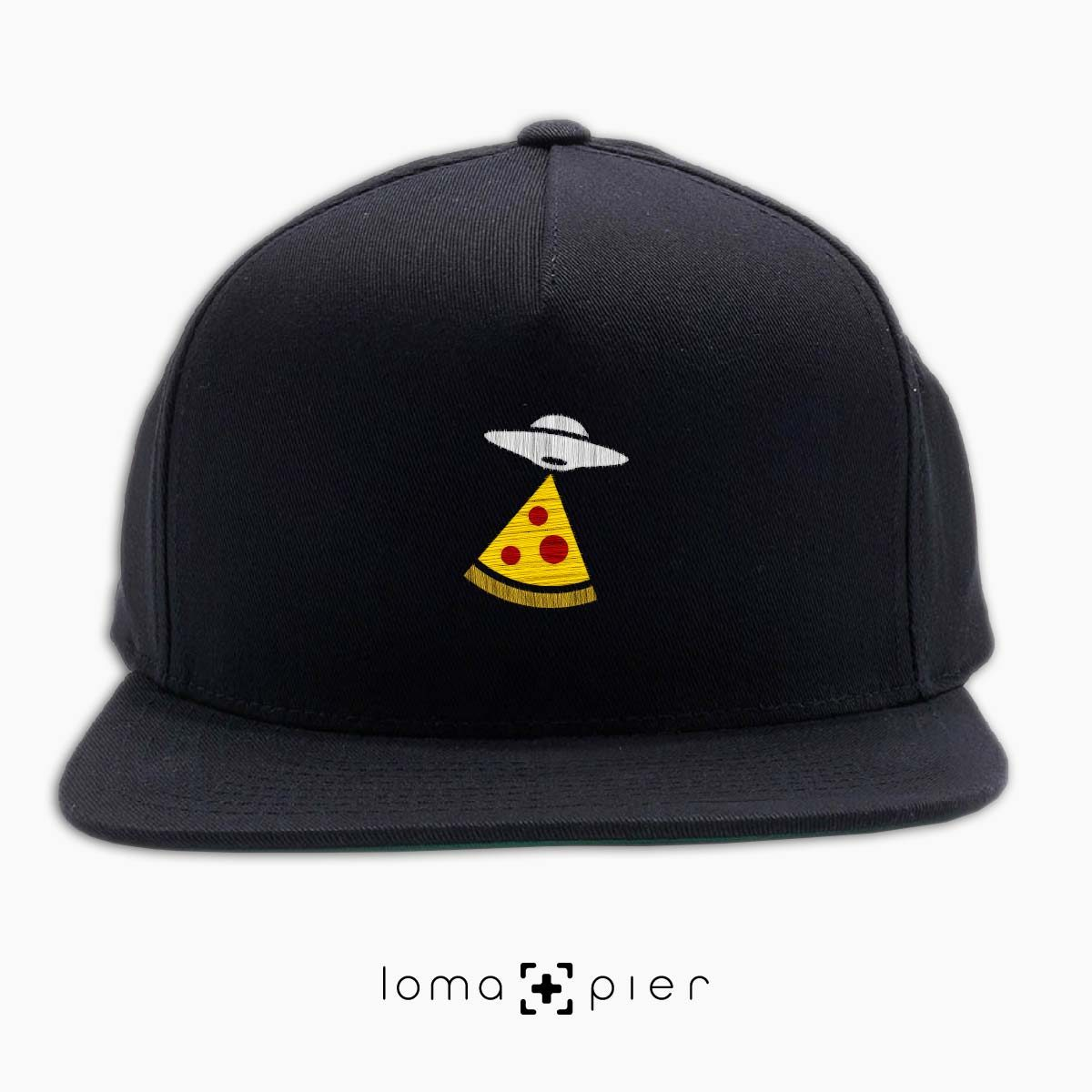 UFO PIZZA icon embroidered on a black classic snapback hat with multicolor thread by loma+pier hat store