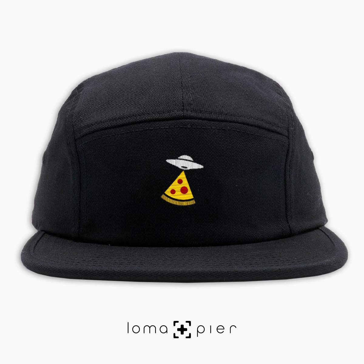 UFO PIZZA icon embroidered on a black cotton 5-panel hat with multicolor thread by loma+pier hat store